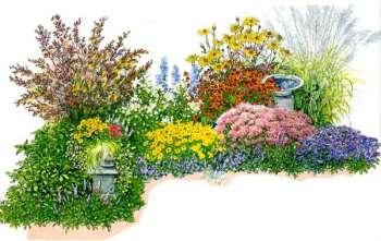 Роскошный цветник с весны до осени